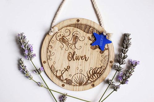 Personalised Jellyfish Wooden Porthole Decoration