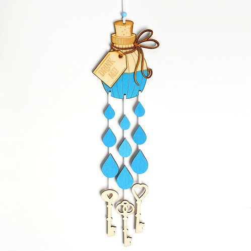 Drink Me Bottle and Keys, Alice in Wonderland Hanging Decoration