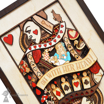 Queen Of Hearts, Alice In Wonderland Layered Wooden Wall Art