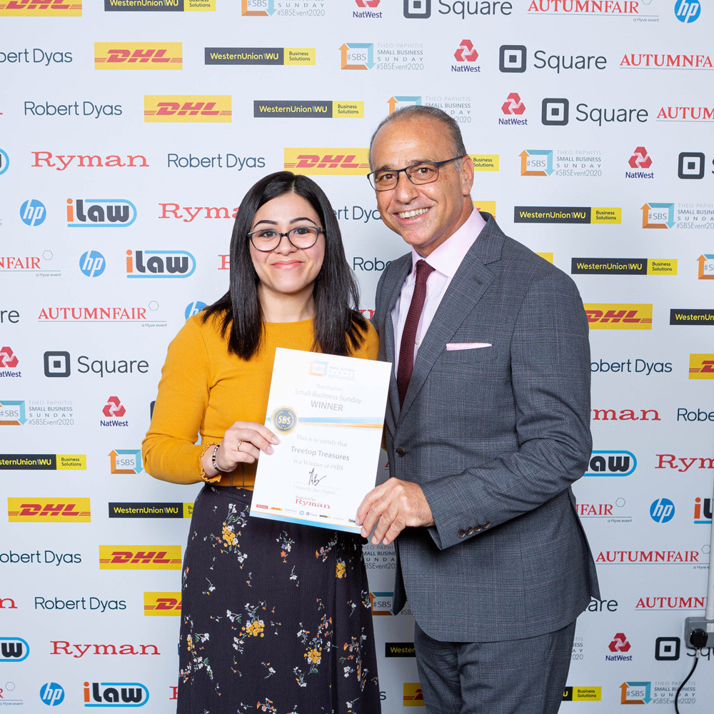 Treetop Treasures awarded #SBS certificate by Theo Paphitis