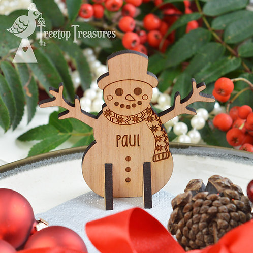 Personalised Snowman Christmas Place Name
