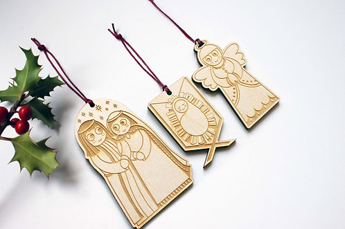 Nativity Hanging Decorations - Set of 3