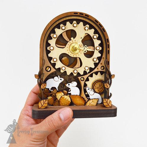 Small Clockwork Mice Mantel Clock Tall