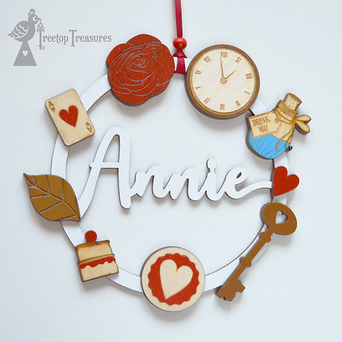 Personalised Alice in Wonderland Name Decoration