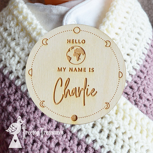 Personalised Space Baby Announcement Disc