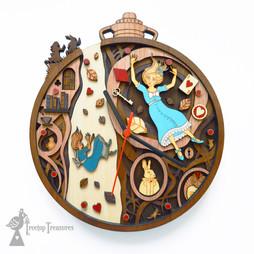 Down The Rabbit Hole, Alice In Wonderland Layered Wooden Clock