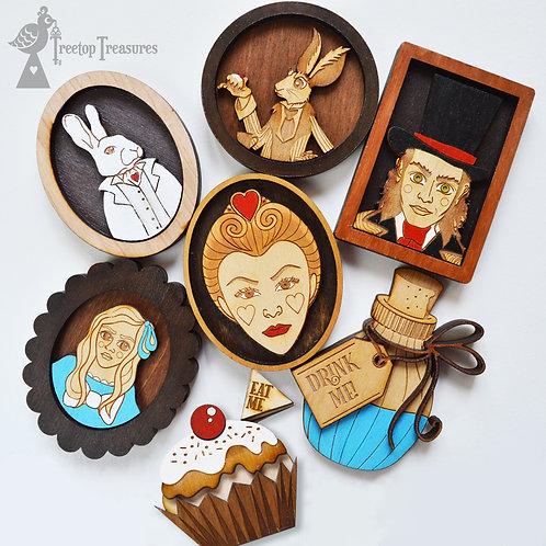 Alice in Wonderland Layered Wooden Fridge Magnets