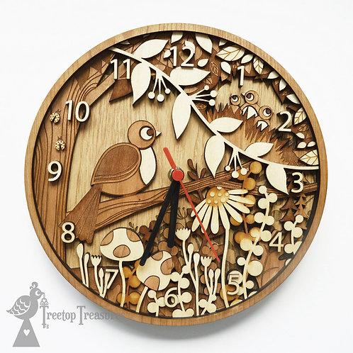 Personalised Wooden Bird Clock, Choose Number of Baby Birds