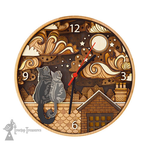 Rooftop Cats Layered Wooden Clock