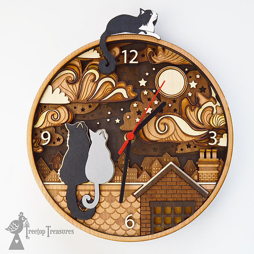 CUSTOM Rooftop Cats Layered Wooden Clock