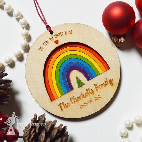 Personalised Rainbow Christmas Tree Decoration