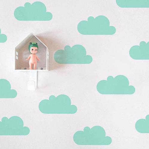 Nube verde agua, vinilo deco muro