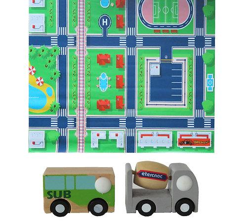 Tapete pista de auto ciudad +2 autos de madera (bus y camión)