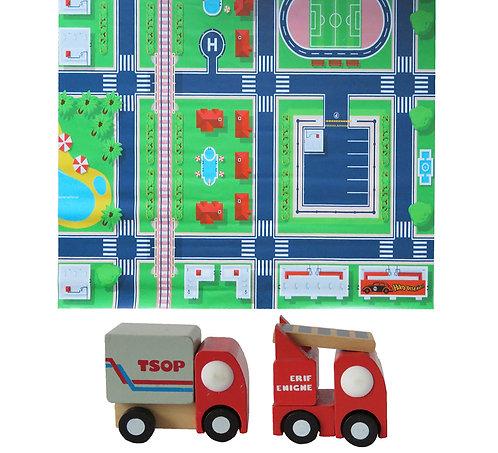 Tapete pista de auto ciudad +2 autos de madera (camión gris y camión rojo)
