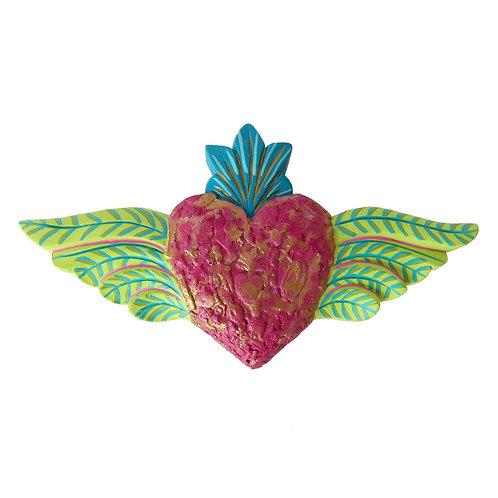 Corazón Alado con textura, Rosa/verde pistacho