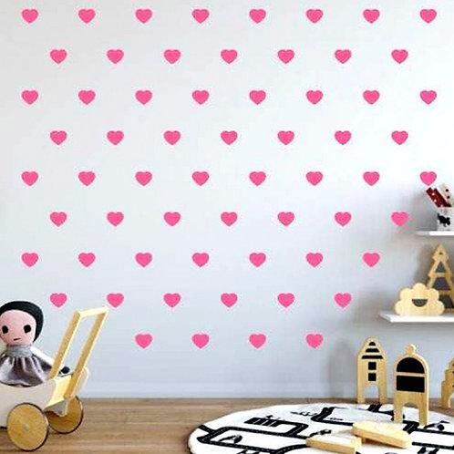 Corazón rosa, vinilo deco muro