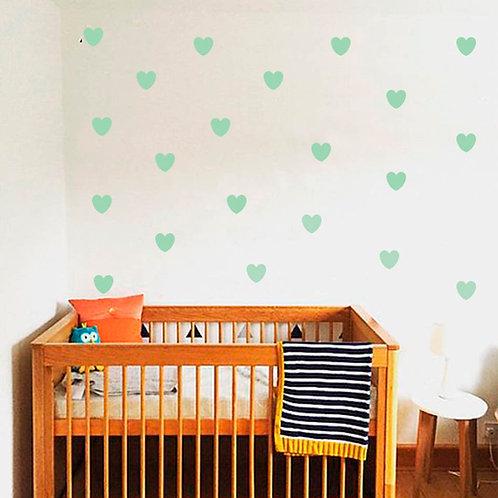 Corazón verde agua, vinilo deco muro