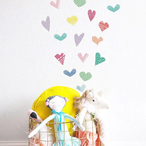Corazones de colores, vinilo deco muro