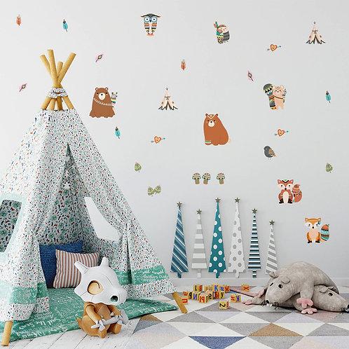 Animales Tribu (osos y zorros), vinilo deco muro