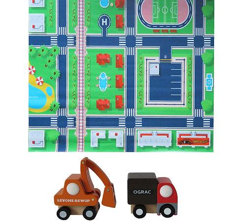 Tapete pista de auto ciudad +2 autos de madera (grúa y camión))