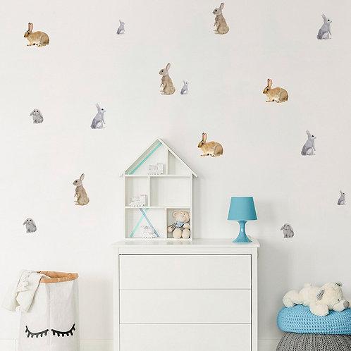 Conejos vinilo deco muro