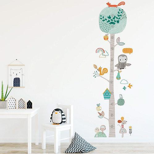 Árbol y animales (con medida de crecimiento), vinilo deco muro