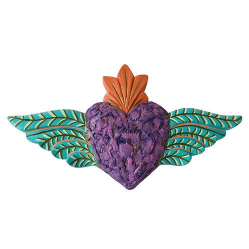 Corazón Alado con textura, Morado/ verde mar