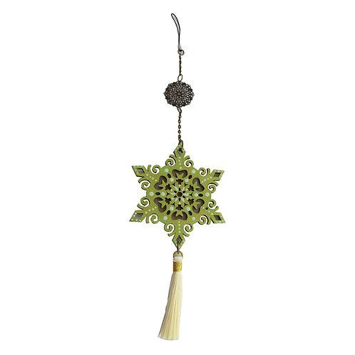 Colgante móvil mandala estrella (color dorado y verde)