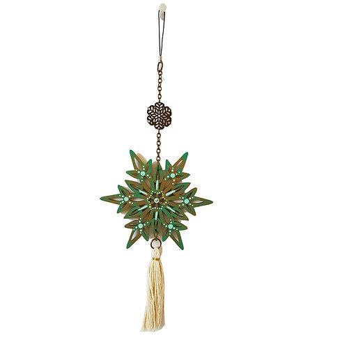 Colgante móvil mandala (color dorado/ verde mar, celeste)