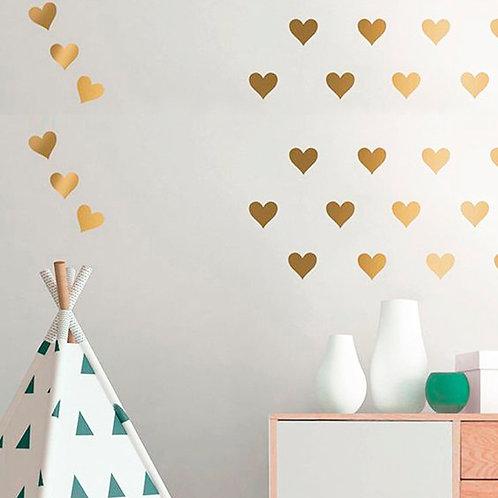 Corazón dorado, vinilo deco muro