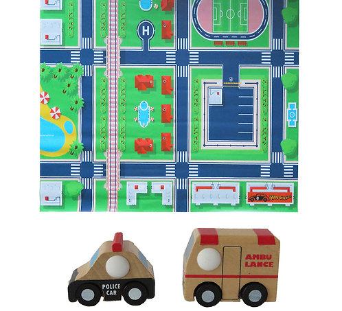 Tapete pista de auto ciudad +2 autos de madera (ambulancia y policía)