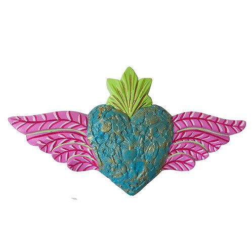 Corazón Alado con textura, Celeste/Rosa