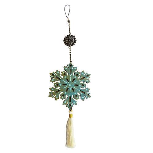 Colgante móvil mandala  Flor (color dorado/ Celeste)