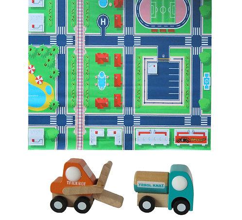 Tapete pista de auto ciudad +2 autos de madera (grúa y camión petróleo)