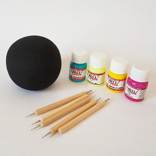 Set de Puntillismo/Esfera de cerámica