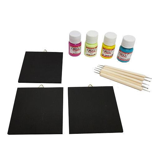 Set de Puntillismo/ mini cuadros 9x9 cms