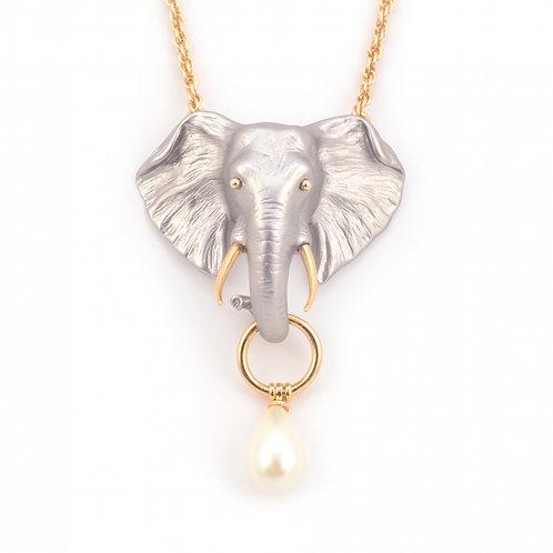 Elephant Pearl Drop Necklace