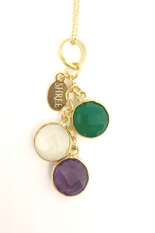 Green Onyx, Prehnite Chalcedony & Amethyst pendant