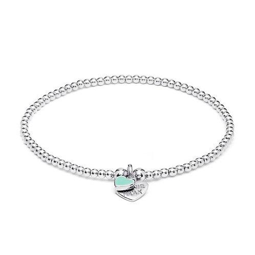 Santeenie Silver Charm Bracelet-Turquoise Heart