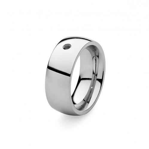 Qudo Stainless Steel Broad Ring