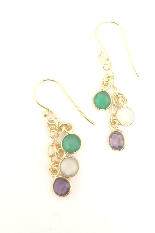 Green Onyx, Prehnite Chalcedony & Amethyst earrings