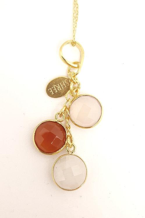 Pink Chalcedony, Red Carnelian & Moonstone pendant