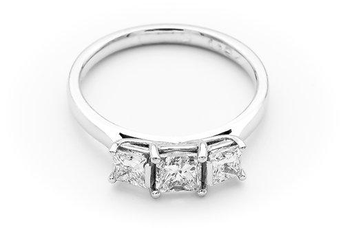 18ct white gold three stone ring