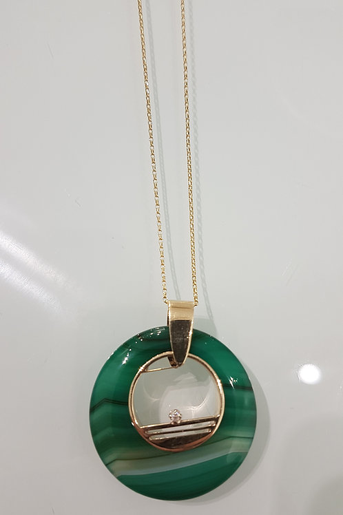 9ct gold green agate & diamond necklace