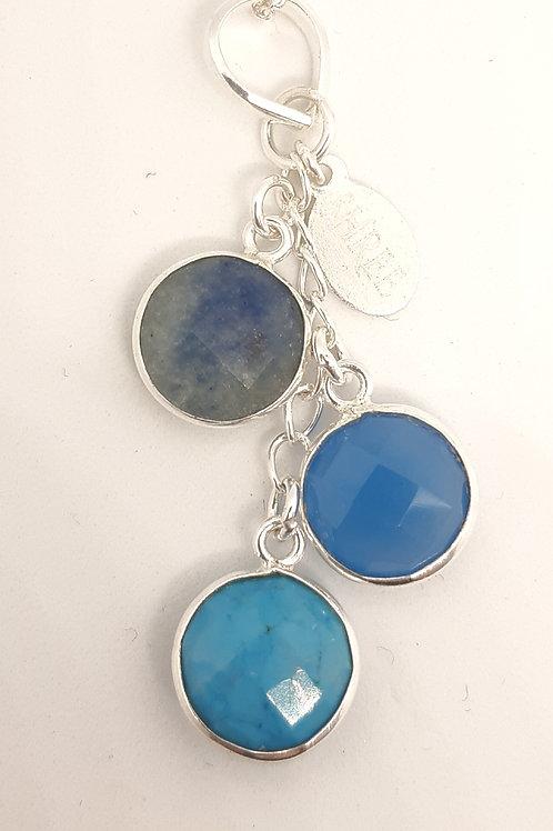 Sapphire, Blue Chalcedony & Turquoise pendant
