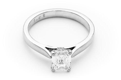 Platinum Emerald cut Solitaire ring