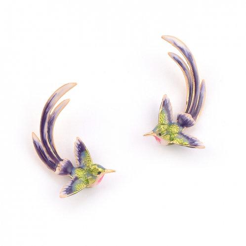 Bird of Paradise Swooping Earrings