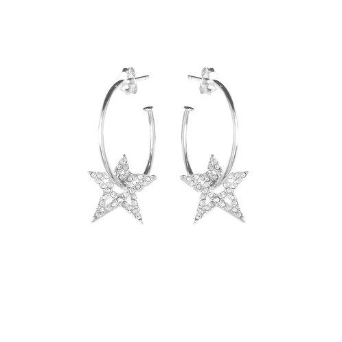 Clear Crystal Star Hoop Earrings