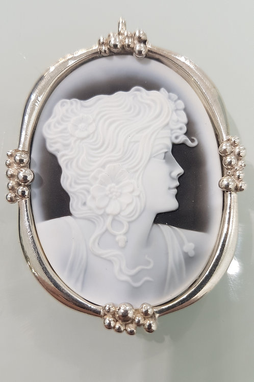 Silver and Agate Cameo