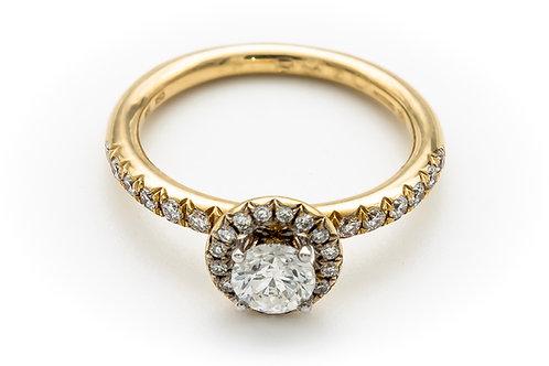 18ct yellow diamond halo ring